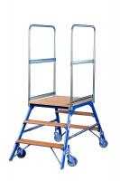 Podestleiter, Stahl mit Holzstufen