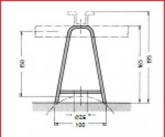 Wandbefestigungsbügel für ebene und runde Bauwerke, Ø ≥ 200 mm.
